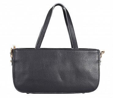 B861-Pamelia-Evening Bag in Genuine Leather - Black