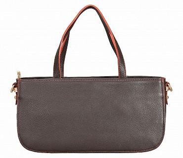 B861-Pamelia-Evening Bag in Genuine Leather - Brown