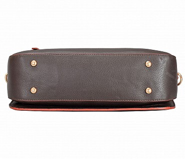 B861-Pamelia-Evening Bag in Genuine Leather - Brown