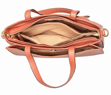 B861-Pamelia-Evening Bag in Genuine Leather - Tan