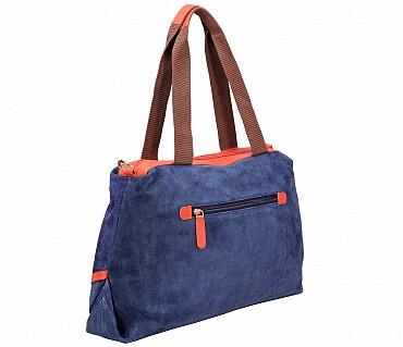 B862-Albira-Shoulder work bag in Genuine Leather - Blue