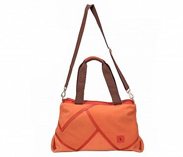 B862-Albira-Shoulder work bag in Genuine Leather - Orange