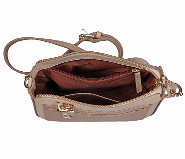 B863-Beatriz-Sling cross body bag in Genuine Leather - Beige