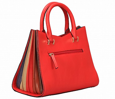 B866-Liliela-Shoulder work bag in Genuine Leather - Red