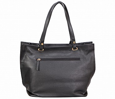 B867-Querida-Semi casual bag in Genuine Leather - Black