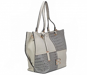 B867-Querida-Semi casual bag in Genuine Leather - Grey
