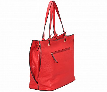 B867-Querida-Semi casual bag in Genuine Leather - Red