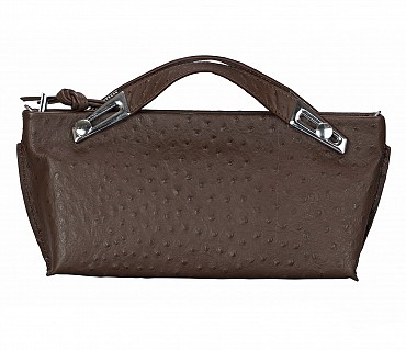 B875-Senobia-Evening Bag in Genuine Leather - Brown