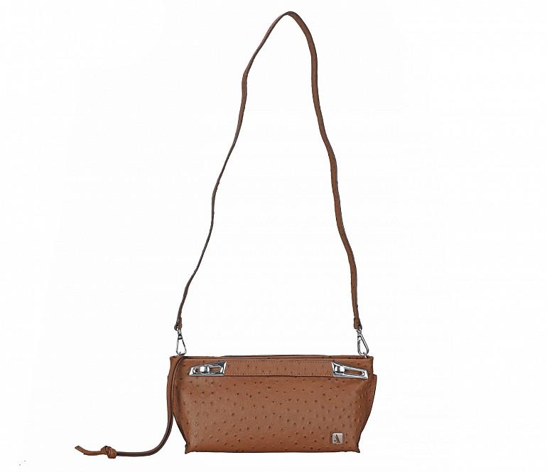B875-Senobia-Evening Bag in Genuine Leather - Tan