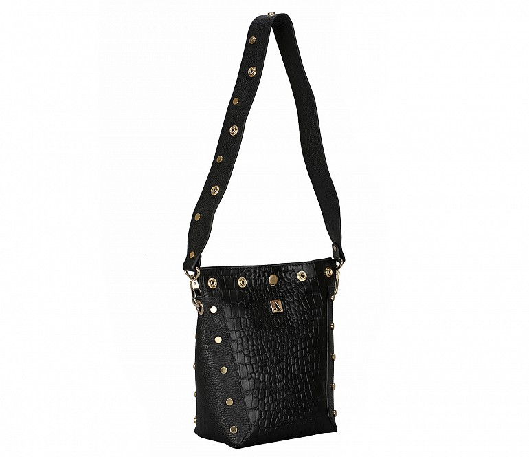 B876-Valencia-Shoulder work bag in Genuine Leather - Black