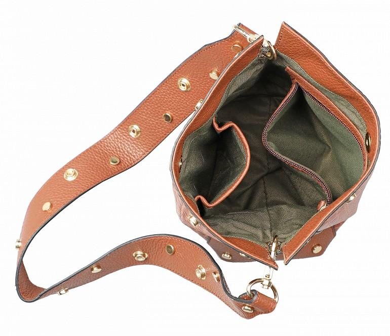 B876-Valencia-Shoulder work bag in Genuine Leather - Tan