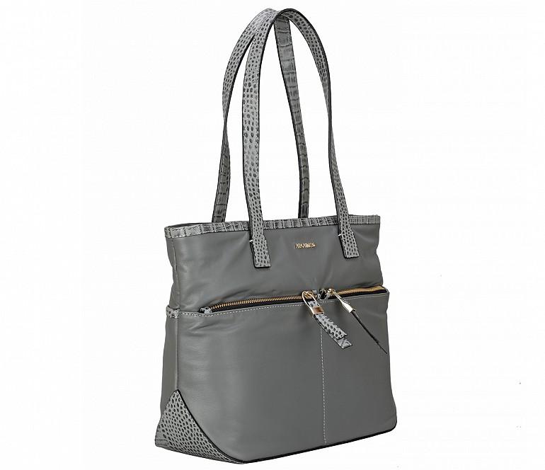 B877-Norita-Shoulder work bag in Genuine Leather - Grey
