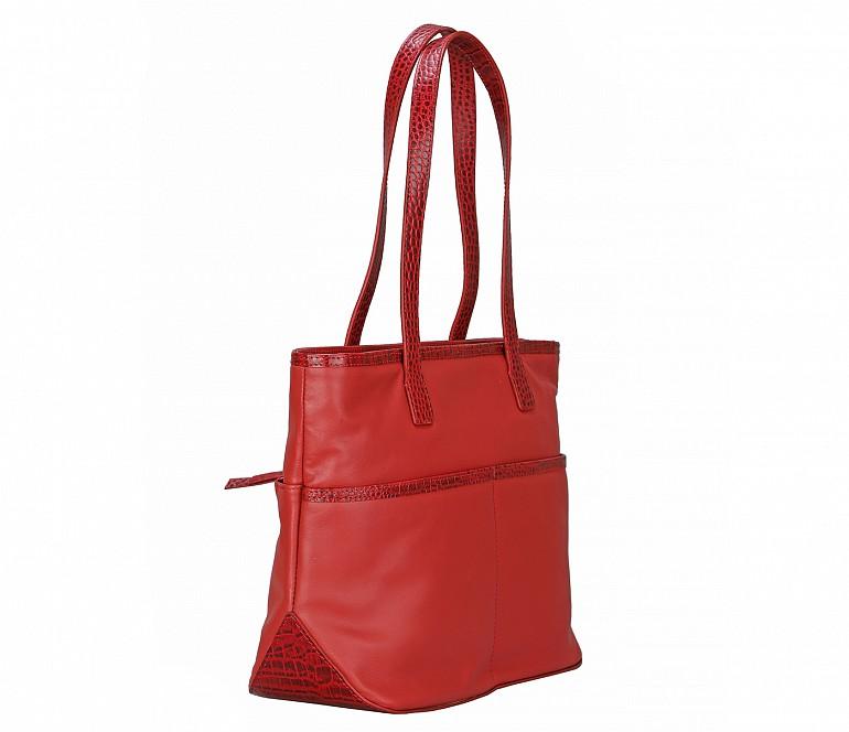 B877-Norita-Shoulder work bag in Genuine Leather - Red