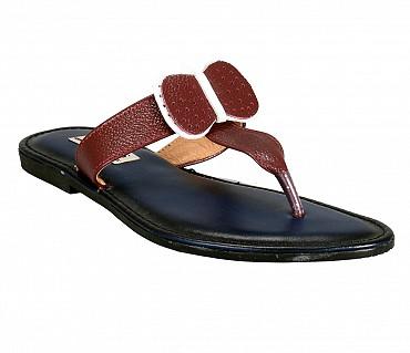 BB3-Adamis flat heels comfort wear slip on sandal in white color- - Brown.