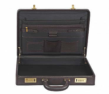 BC13--Briefcase hard top in Genuine Leather - Brown