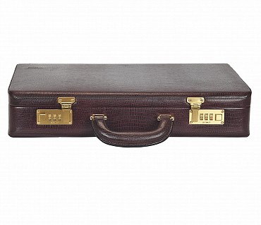 BC13--Briefcase hard top in Genuine Leather - Wine