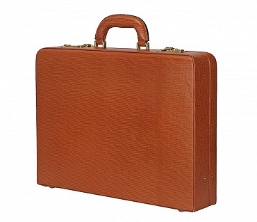 BC13--Briefcase hard top in Genuine Leather - Tan
