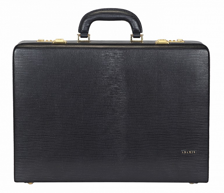 BC13--Briefcase hard top in Genuine Leather - Black