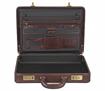 BC14--Briefcase hard top in Genuine Leather - Brown