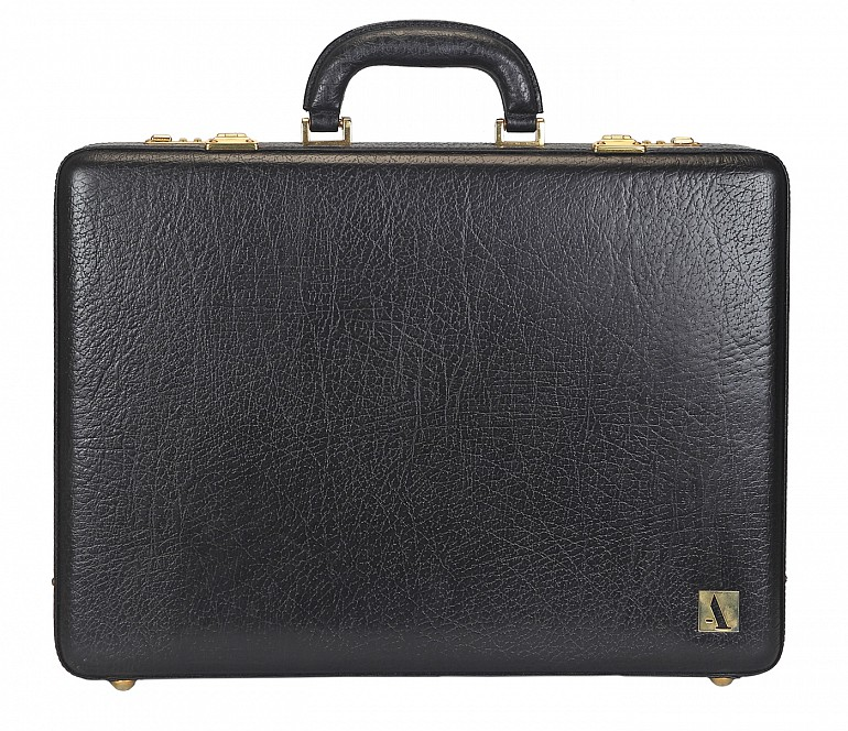 BC14--Briefcase hard top in Genuine Leather - Black