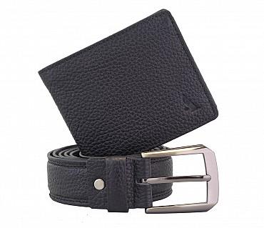 BL11-W236--Men's belt & wallet combo gift pack in Genuine Leather - Black