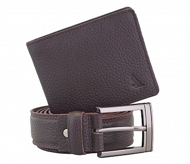 BL11-W236--Men's belt & wallet combo gift pack in Genuine Leather - Brown