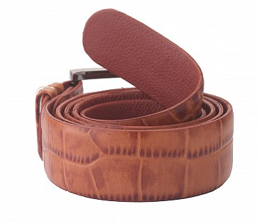 BL121--Men's Formal wear belt in Genuine Leather - Tan