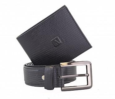 BL7-W229--Men's belt & wallet combo gift pack in Genuine Leather - Black