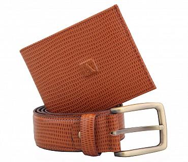 BL7-W229--Men's belt & wallet combo gift pack in Genuine Leather - Tan