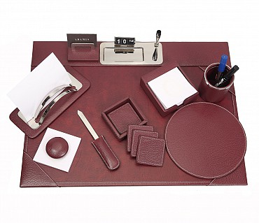 DSK1--8pcs office desk set organizer in Genuine Leather - Wine