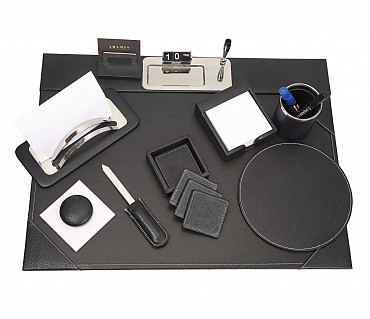 DSK1--8pcs office desk set organizer in Genuine Leather - Black
