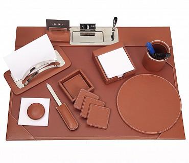 DSK1--8pcs office desk set organizer in Genuine Leather - Tan