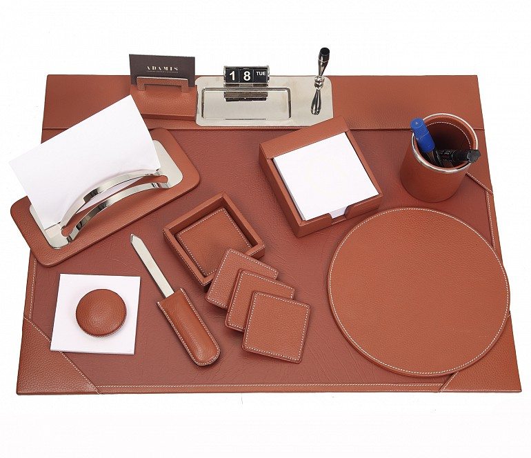 DSK1--8pcs office desk set organizer in Genuine Leather - Tan
