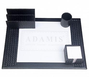 DSK2--4pcs office desk set organizer in Genuine Leather - Black