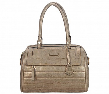 EB13-Tabea Faux-Double short handle duffle bag in Faux Leather - Gold