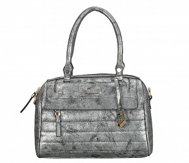 EB13-Tabea Faux-Double short handle duffle bag in Faux Leather - Silver