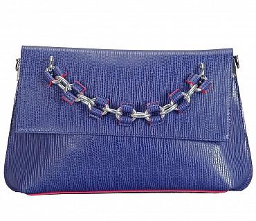 EB14-Walda Faux-Sling cross body bag in Faux Leather - Blue