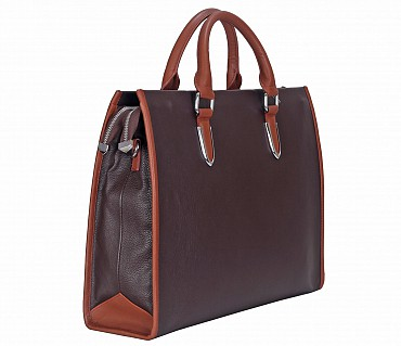 F57-Maxwell-Laptop cum portfolio messenger bag in Genuine Leather - Brown/Tan