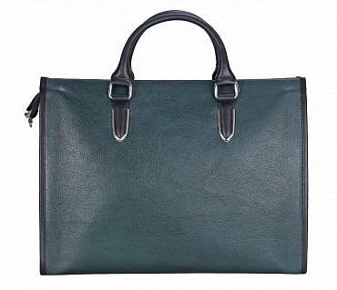 F57-Maxwell-Laptop cum portfolio messenger bag in Genuine Leather - Green/Black