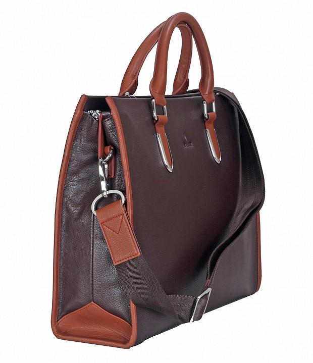 F57-Maxwell-Laptop cum portfolio messenger bag in Genuine Leather - Brown/Tan