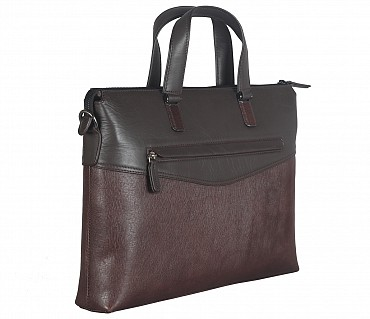 F66-Michael-Laptop cum portfolio slim bag in Genuine Leather - Brown