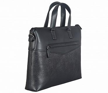 F66-Michael-Laptop cum portfolio slim bag in Genuine Leather - Black