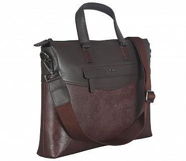 F66-Michael-Laptop cum portfolio slim bag in Genuine Leather - Brown