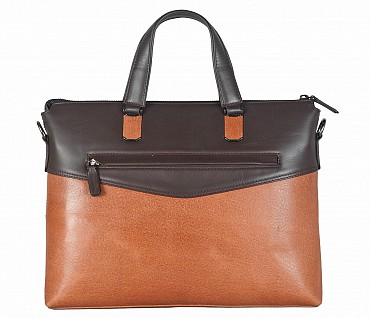 F66-Michael-Laptop cum portfolio slim bag in Genuine Leather - Tan/Brown