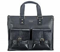Leather Portfolio / Laptop Bag(Black)F69
