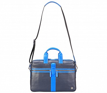 F72-Liam-Laptop, portfolio office executive bag in Genuine Leather - Blue