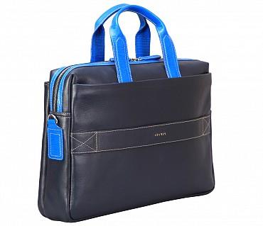 F72-Liam-Laptop, portfolio office executive bag in Genuine Leather - Blue
