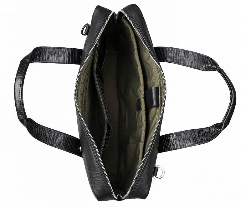 F75-Carlos-Laptop cum portfolio slim bag in Genuine Leather - Black