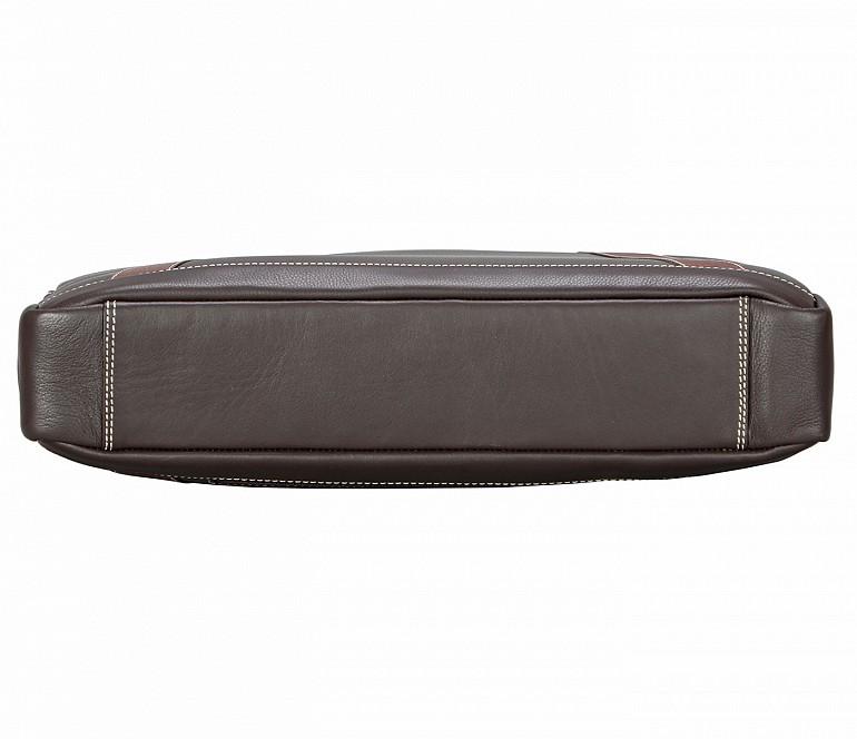 F75-Carlos-Laptop cum portfolio slim bag in Genuine Leather - Brown