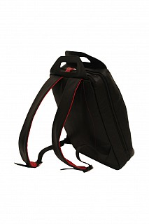 LC26-Harvey-Unisex backpack for laptop bag in Genuine Leather - Black/Red